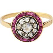 Antique ring rose-cut diamonds calibrated square-cut rubies target ring 18 K yellow gold ...