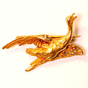 REDUCED Art Nouveau diamonds and gold 18 kt Goose Brooch