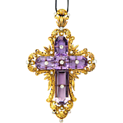 Art Nouveau cross pendant amethyst diamond 22 K yellow gold