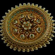 REDUCED Victorian Etruscan revival enamel 18-carat gold brooch