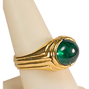 REDUCED Vintage synthetic Emerald cabochon cocktail ring 18 k yellow gold