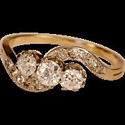 Antique Victorian/Art Nouveau 0.65 tcw diamond three stones 18 k gold engagement ring ...