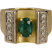 Natural Colombian Emerald and diamonds Retro 18 k gold ring