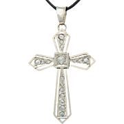REDUCED Art Deco diamond 18 k white gold cross