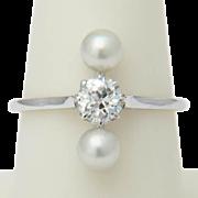 Art Deco diamond pearls ring