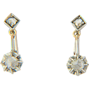 Antique diamond earrings 18 k gold and silver rose-cut diamonds drop Victorian earrings circa