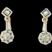 Antique diamond earrings 18 k gold and silver rose-cut diamonds drop Victorian earrings circa