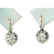 Antique diamond earrings 0.60 carat wt old mine cut  diamonds Victorian drop earrings 18 ...