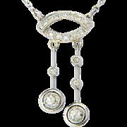 REDUCED Art Deco negligee diamond platinum necklace