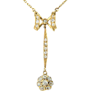 Antique diamond necklace 18 K yellow gold Victorian bow-drop rose-cut diamonds necklace