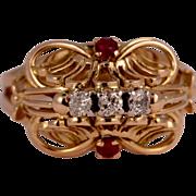 Retro rubies and diamonds 18 k yellow gold ring