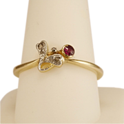 REDUCED Antique Art Nouveau diamond and ruby ring