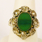 Antique Georgian rose-cut diamonds and green agate ring