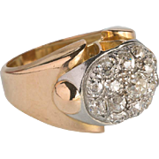 Retro diamond ring 2 carats t.w. 18 k pinkish gold and platinum cocktail ring ...
