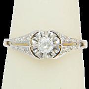 Art Deco diamond platinum over 18 k white  gold engagement ring