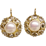 SOLD Antique diamond earrings rose-cut diamond and pearl 18 K yellow gold Victorian circa 1890