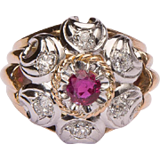 REDUCED Impressive Retro Ruby and Diamonds French cocktail ring circa 1940 s 18 k gold