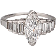 Vintage diamond ring  1.58 tcw marquise-cut and baguette-cut diamond platinum ring  E ...