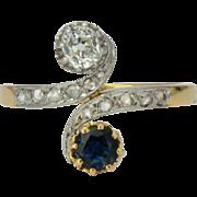 Antique Art Nouveau sapphire and diamond engagement ring