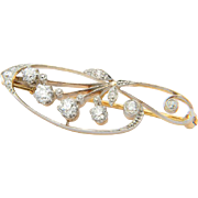 Antique Art Nouveau diamonds pin/brooch