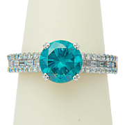 REDUCED Vintage blue diamond 2.58 cwt solitaire engagement ring