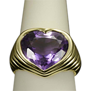 REDUCED Huge Vintage Amethyst heart shape 18 k yellow gold cocktail ring