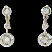 REDUCED Art Deco rose-cut diamonds drop earrings