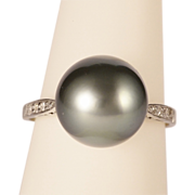 REDUCED Art Deco diamond and black Tahitian pearl platinum ring