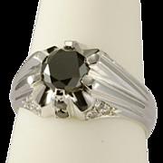 REDUCED Vintage black and white diamonds unisex ring