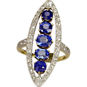 Antique Victorian natural untreated Ceylon sapphire and diamond ring I.G.L. jewelry report