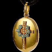 Antique Victorian 18 k gold halves pearls and enamel mourning locket pendant