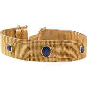 Antique bracelet Victorian sapphires mesh bracelet 18 k yellow gold