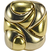 REDUCED Vintage abstract sculptural ring 18 k yellow and white gold cocktail ring / right hand