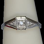 Art Deco Diamond 18 k Gold and Platinum engagement ring/anniversary ring