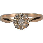 Antique Victorian rose cut diamonds daisy ring