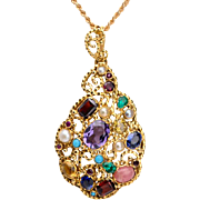 REDUCED Vintage multiple-gemstones pendant 18 k yellow gold