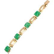 Vintage Jade / Jadeite bracelet Certified Natural Untreated Jadeite Jade 18 k Yellow gold Art