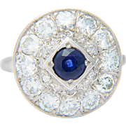 Vintage ring Art Deco diamond Ceylon sapphire ring 14 k white gold 1.80 CWT ...