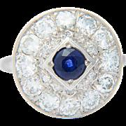Vintage ring Art Deco diamond Ceylon sapphire ring 14 k white gold 1.80 CWT ...
