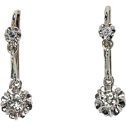 Affordable Vintage Art Deco transitional brilliant-cut diamonds 18 k white gold drop earrings
