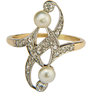 Antique Art Nouveau diamonds and pearls ring circa 1900 s yellow gold 18 k and ...