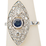 Vintage marquise-shape ring Art Deco diamond blue Ceylon sapphire ring 18 k white gold ...