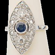 Vintage marquise-shape ring Art Deco diamond blue Ceylon sapphire ring 18 k white gold ...