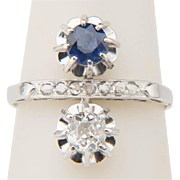"Vintage ring Art Deco cross-over diamond and sapphire ring ""You and Me"" engagement r"