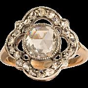 Unique Victorian 2 carats central Rose-cut diamond four- clover ring