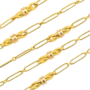 Antique Arts and Crafts long chain 62.6 inches 18 k yellow gold 61.5 ...