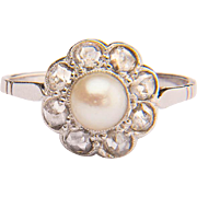 Vintage rose-cut diamonds and pearl daisy ring 18 k white gold circa 1960-70 s
