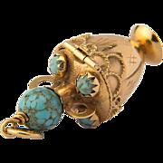 Vintage charm pendant turquoise 18 k yellow gold