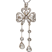 Antique Edwardian rose-cut diamond negligee` clover necklace platinum over 18 k yellow gold