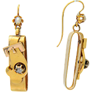 Antique Victorian drop earrings diamond pearl 18 k gold
